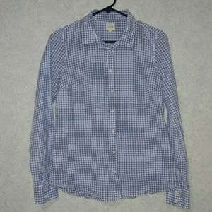 J Crew The Perfect Shirt blue gingham check SMALL
